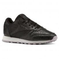 Reebok Classic Leather Shoes Womens Il-Black/Chalk/Lavender Luck/Dark Silver (100BLDOF)