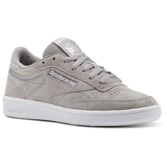 Reebok Club C 85 Shoes Womens Powder Grey/White/Pale Pink (100HYJOG)