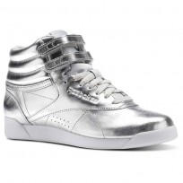Reebok Freestyle HI Shoes Womens Silver Metallic/Steel/White (105KFDIC)