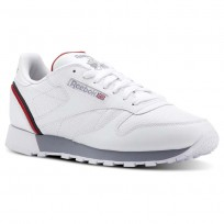 Reebok Classic Leather Shoes Mens Sptlt-White/Collegiate Navy/Excellent Red (106UANGC)