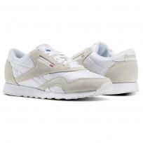 Reebok Classic Nylon Shoes Mens White/Light Grey (118KXHAJ)