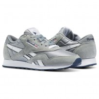 Reebok Classic Nylon Shoes Mens Platinum/Jet Blue (121IKUQM)
