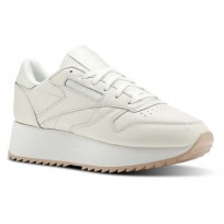 Reebok Classic Leather Shoes Womens Double-Chalk/Bare Beige (124GVQAO)