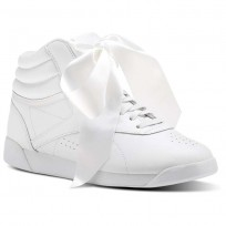 Reebok Freestyle HI Shoes Womens White/Skull Grey (125TIDJQ)