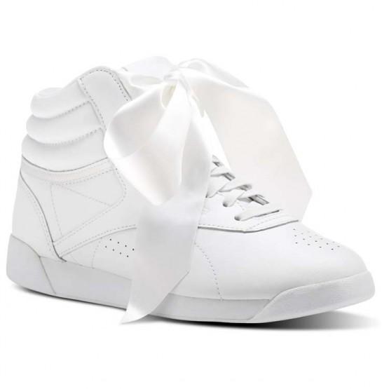 Reebok Freestyle HI Shoes Womens White/Skull Grey (125TIDJQ)