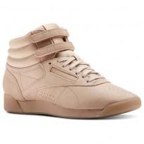 Reebok Freestyle HI Shoes Womens Face-Bare Beige/White (127NBXZU)
