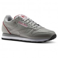 Reebok Classic Leather Shoes Mens Light Solid Grey/White/Power Red/Black (150SYRJQ)