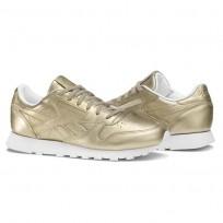 Reebok Classic Leather Schuhe Damen Gold/Grau Gold/Weiß (160JHMQG)