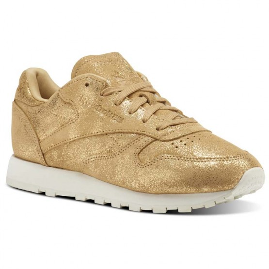 Reebok Classic Leather Shoes Womens Gold/Chalk (169PMLUN)