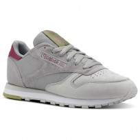Reebok Classic Leather Shoes Womens Cb-Tin Grey/Skull Grey/Twstd Berry/Wht/Grn (175BAQTO)