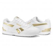 Reebok Royal Glide Shoes Womens White/White/Gold Met (184TGHMF)