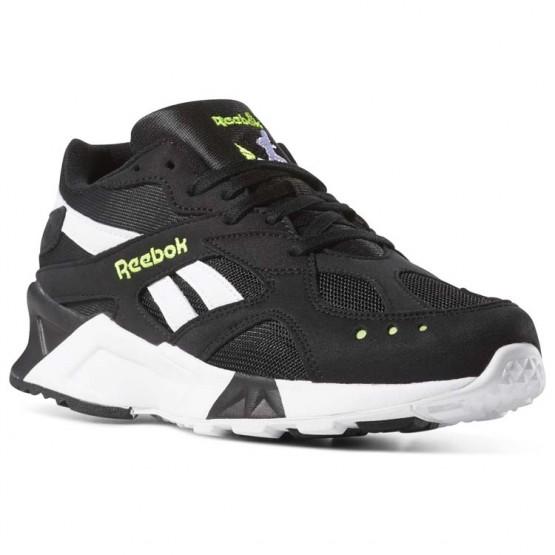 Reebok Aztrek Shoes Mens Bw-Black/White/Solar Yellow (194OGJDQ)