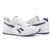 Reebok Royal Glide Shoes Kids White/Collegiate Navy (197LEUWV)