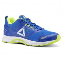 Reebok Ahary Runner Running Shoes Mens White/Bunker Blue/Solar Yellow (203QYPXO)