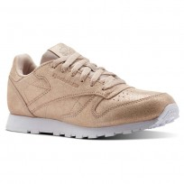 Reebok Classic Leather Shoes Girls Ms-Rose Gold/Bare Beige/White (213VLAYB)