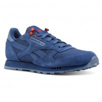 Reebok Classic Leather Shoes For Boys Blue/Blue/Red (228AKYNV)