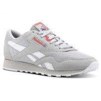 Reebok Classic Nylon Shoes Womens Retro-Skull Grey/Neon Cherry/Ultima Prple/Wht (254XNDPS)