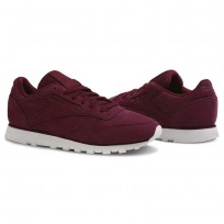 Reebok Classic Leather Shoes Womens Enh-Rustic Wine/Chalk (273JKVXR)