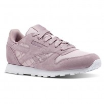 Reebok Classic Leather Shoes Girls Satin-Infused Lilac/White (291FHTEM)