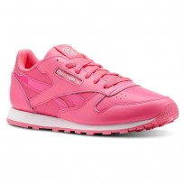 Reebok Classic Leather Shoes Girls Acid Pink/White (293BTOJD)