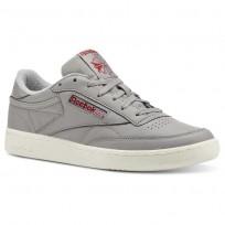 Reebok Club C 85 Shoes Mens Vintage-Mgh Solid Grey/Power Red/Chalk (294KGMFP)
