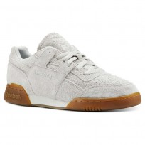 Reebok Workout Plus Shoes Mens Suede-White/Gum (296OECFK)