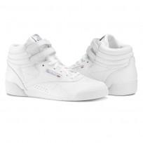 Reebok Freestyle HI Shoes Girls White/Silver (301EUGZM)