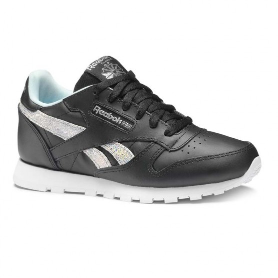 Reebok Classic Leather Shoes For Girls Black/Blue/Grey (307NOMTZ)