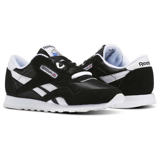 Reebok Classic Nylon Shoes Womens Black/White (316VSQOZ)