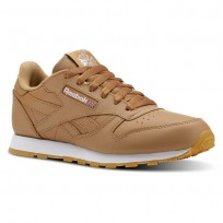 Reebok Classic Leather Shoes For Kids Brown/White (318GKUXO)