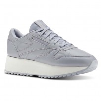 Reebok Classic Leather Shoes Womens Double  Cool Shadow/Chalk/Cloud Grey (327LIFNW)