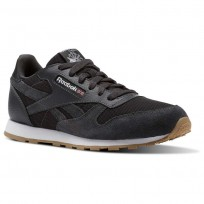 Reebok Classic Leather Shoes Boys Coal/White (332ZEQIO)