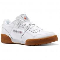 Reebok Workout Plus Shoes Kids White/Carbon/Classic Red/Reebok Royal-Gum (349QIRSA)