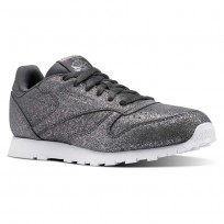 Reebok Classic Leather Shoes Girls Ms-Pewter/Ash Grey/White (391JVIYH)