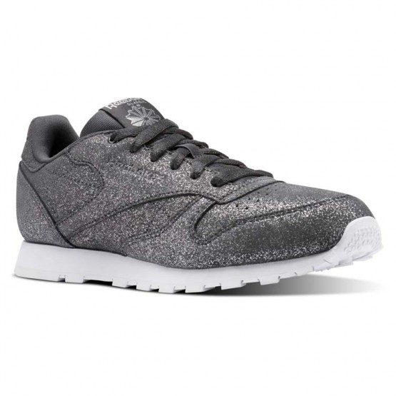 Reebok Classic Leather Shoes For Girls Grey/White (391JVIYH)