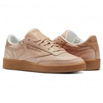 Reebok Club C 85 Shoes Womens Beige/Veg Tan/Chalk/Gum (401CRXZH)