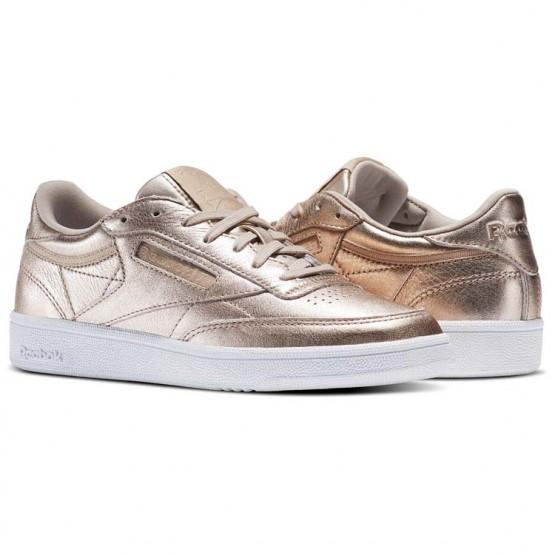Reebok Club C 85 Shoes Womens Gold/Pearl Met-Peach/White (401PUQFB)