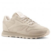 Reebok Classic Leather Shoes Womens Beige/Sand Stone/Pale Pink (409FYJSN)
