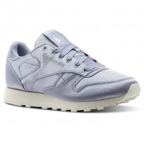 Reebok Classic Leather Shoes Womens Purple Fog/Classic White (416NGVUT)