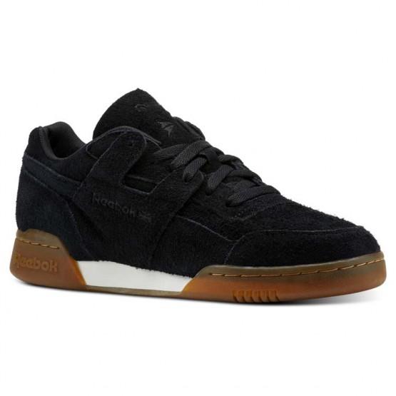 Reebok Workout Plus Shoes Mens Suede-Black/Gum (418MTDPQ)