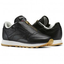 Reebok Classic Leather Shoes Womens Black/Chalk/Sleek Met (422FIKWE)
