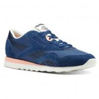 Reebok Classic Nylon Shoes Mens Retro-Bunker Blue/Collegiate Navy/Chalk/Pink (447CBOWP)