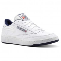 Reebok Club C 85 Shoes Mens White/Collegiate Navy/Excellent Red (447ZFTBE)