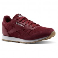 Reebok Classic Leather Shoes Boys Urban Maroon/White (449XWRJY)