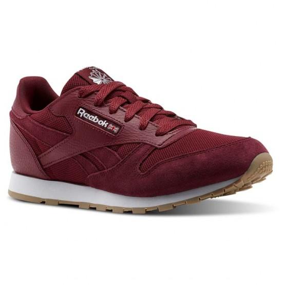 Reebok Classic Leather Schuhe Jungen Bordeaux/Weiß (449XWRJY)