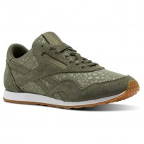 Reebok Classic Nylon Shoes Womens Hunter Green/White/Gum (450DNYAU)
