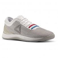 Reebok CrossFit Nano Shoes Mens White/Skull Grey/Pure Silver/Primal Red (457RWGFV)
