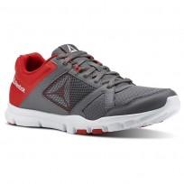 Reebok YourFlex Train 10 Training Shoes Mens Shark/Primal Red/White (463WQGXM)