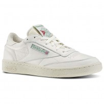Reebok Club C 85 Shoes Mens Chalk/Paperwhite/Glen Green/Exclnt Red (475ZBWGS)