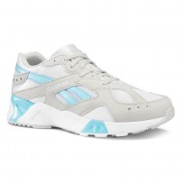 Reebok Aztrek Shoes Mens Enh-Skull Grey/White/Digital Blue (479QVPDK)
